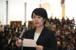 大学院生代表で誓いの言葉を述べる     柴藤千尋さん