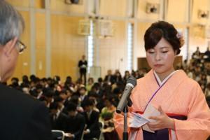謝辞を述べる卒業生代表福島慶子さん