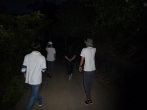 夜道を歩いて高台へ