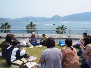 関門海峡を眺めながら海の幸を堪能